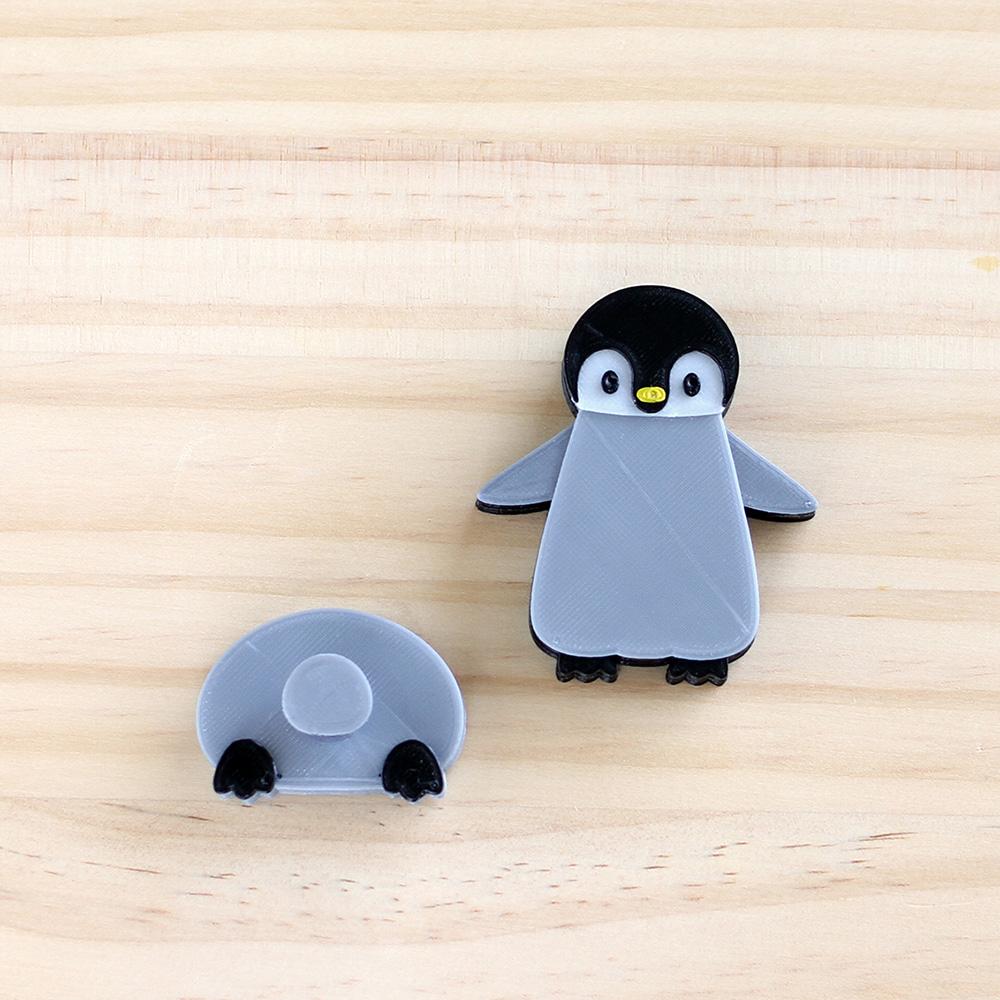 ペンギンマグネット(おしりのマグネットは、フックになっています。)(3Dプリンター製です)