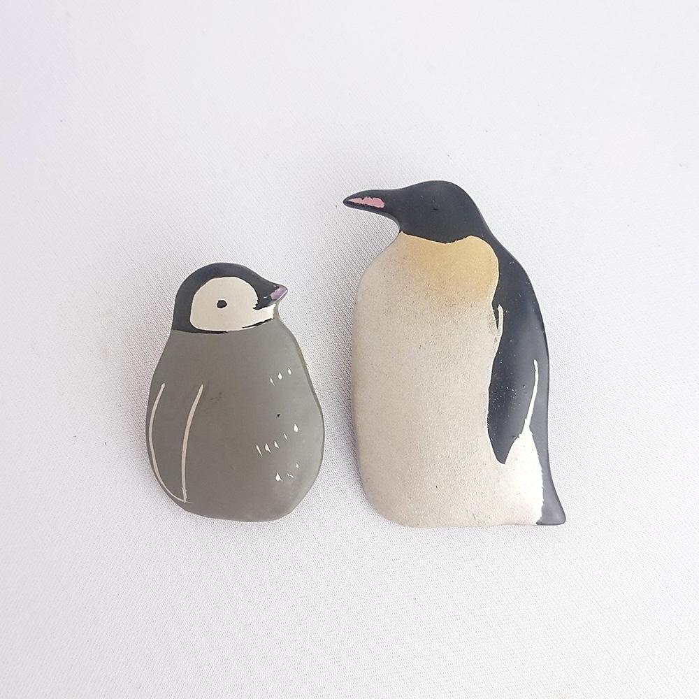 皇帝ペンギン親子 漆ブローチ